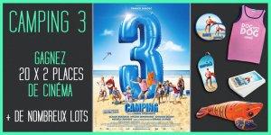Illustration du jeu concours Camping 3 : 20 places de cinéma et de nombreux lots à gagner